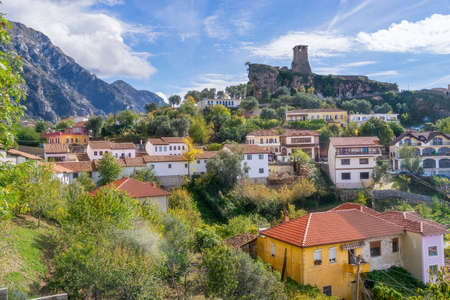De stad Kruje in Albanië Stockfoto