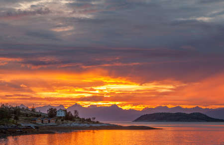The midnight sun in the Lofoten Islands Norway