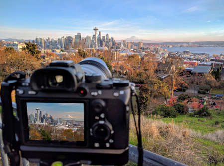 Camera shooting the city of Seattle in Washington