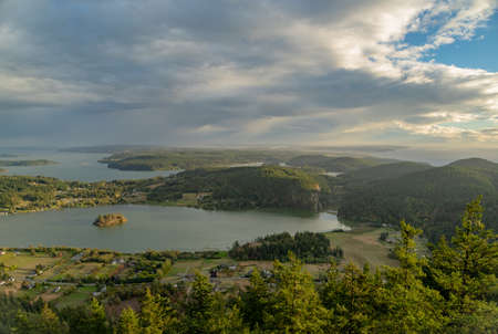 The View of Fidalgo and San Juan Islands on Mount Erie Фото со стока