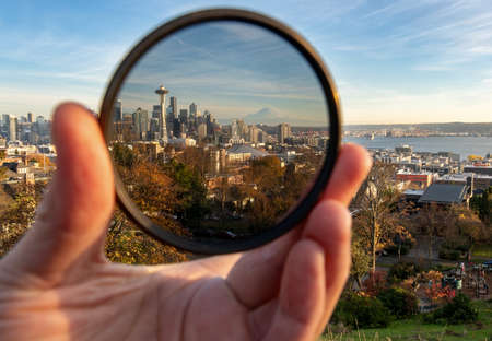 Polarizing Filter Over the Seattle Skyline Concent