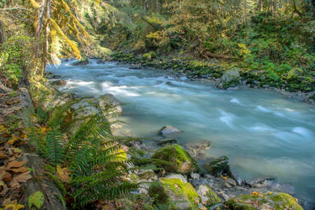 The Nooksack River runs along the valley near Mount Baker