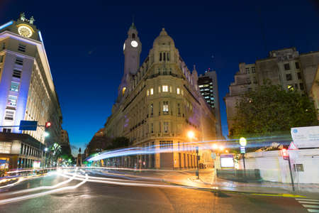 Nighttime scene in the city of Buenos Aires