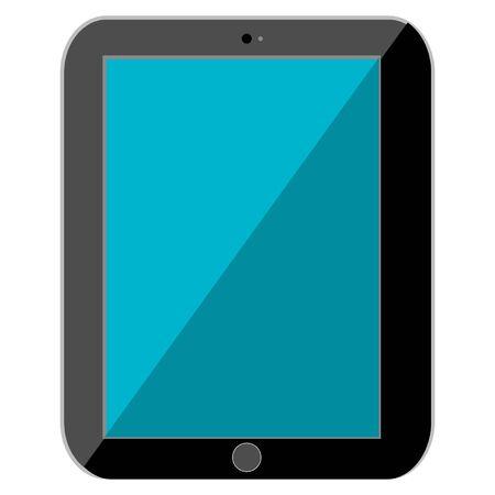 reflection: Black Tablet with Blue Reflection Illustration