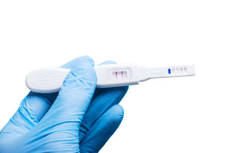 insemination: Artificial insemination. doctors hand in glove holding positive pregnancy test with two stripes. Isolated on white Stock Photo