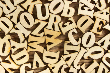 letterpress blocks: Close-up Letters of the alphabet made of wood for background Stock Photo
