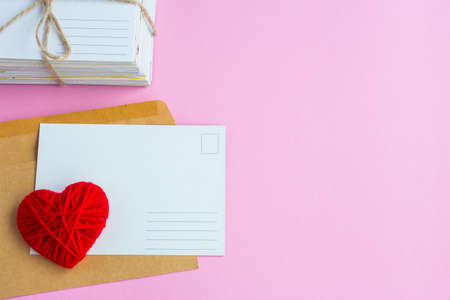 Blank white post cards, empty postcard, postcrossing, Red heart love letter