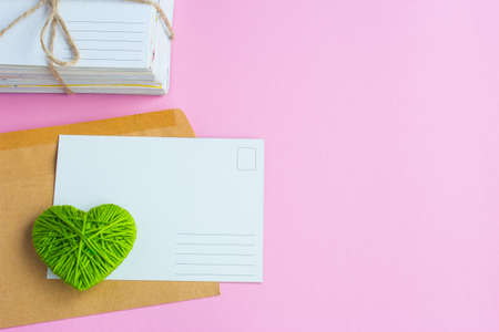 Blank white post cards, empty postcard, postcrossing, green heart love letter