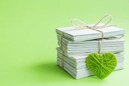 Blank white post cards, empty postcard, postcrossing, green heart love letter