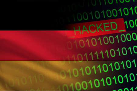 Germany hacked state security. Cyberattack on the financial and banking structure. Theft of secret information. On a background of a flag the binary code.