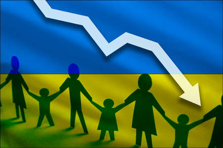 Ukraine flag background of the arrow chart down. Decrease in the number of the countrys rape. Fertility below the measurement. Reducing the flow of refugees, tourists, immigrants. Reklamní fotografie