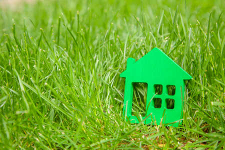 Eco house in nature. Symbol of  house on green grass in summer. Copy space for text Stock Photo