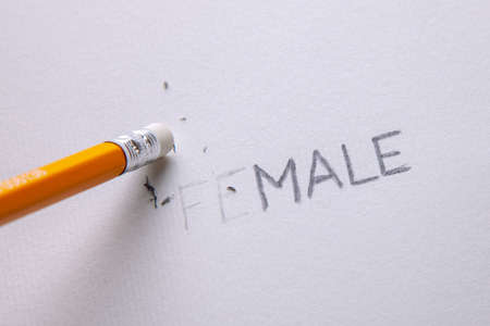 Transgender is man or a woman. Word female consists of the word male Stock Photo