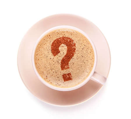 Cup of coffee with question mark  on foam. I like coffee break. FAQ