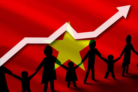 Vietnam flag on a background of a growing arrow up and people with children holding hands. Demographic growth of the country, tourists, refugees, immigrants