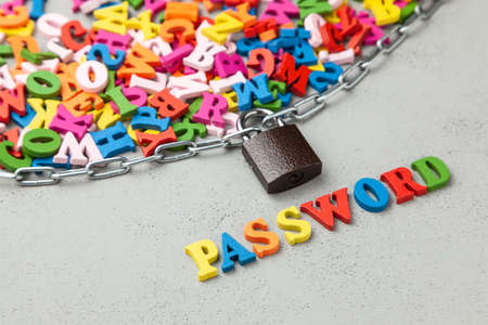 Information is password protected. Letters of information symbol wrapped in chain and locked
