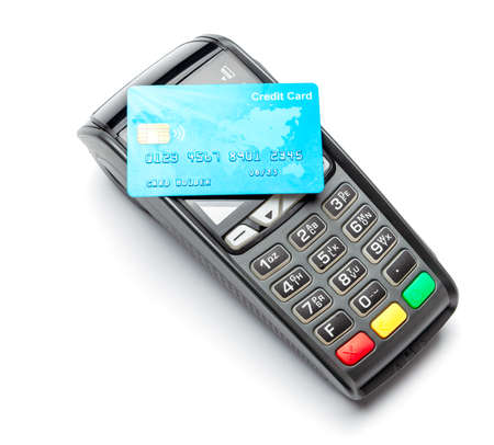 POS terminal, Payment Machine with credit card isolated on white background. Contactless payment with NFC technology Banque d'images