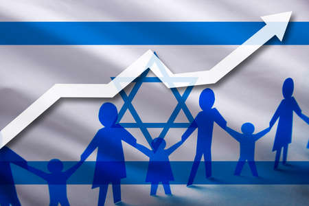 Israel flag on a background of a growing arrow up and people with children holding hands. Demographic growth of the country, tourists, refugees, immigrants