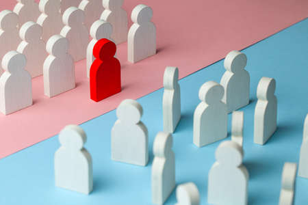 The conflict between the two business teams. One group of people with a leader stands as a unit, and the other group of people stands as a crowd.