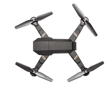 Flying drone with four propellers and  camera for shooting video and photos. Black drone top view isolated on white background.