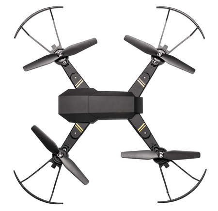 Drone to fly across the sky with camera for shooting video and photos. Drone with blades and protection isolated on white background. Top view
