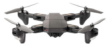 Drone to fly across the sky with camera for shooting video and photos. Drone with blades isolated on white background.
