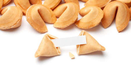 Chinese fortune cookies. Cookies with empty blank inside for prediction words. Isolated on white background