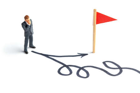 Businessman chooses the right path to the goal. Different ways to achieve a goal, the right and wrong choice.