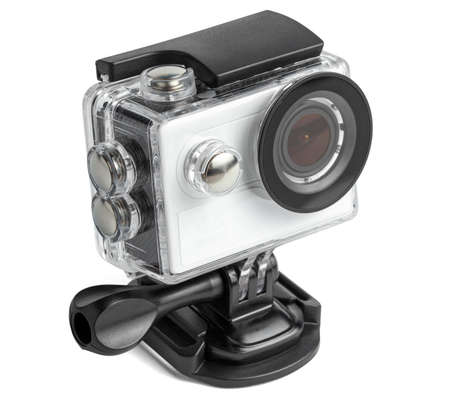 Action camera in a waterproof box isolated on white background.