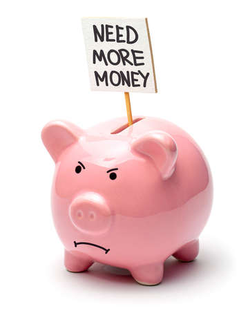 Need more money. Pink piggy bank with a poster isolated on a white background. Evil pig face