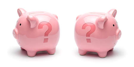 Pink piggy bank with question mark symbol isolated on a white background. Concept How to save money.