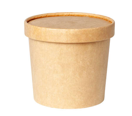 Round cardboard box isolated on a white background Stock Photo