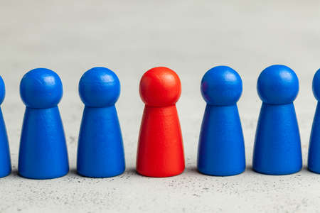 Selection and search for the best employee leader. Staff recruitment, HR. Good worker stands out in crowd Stock Photo