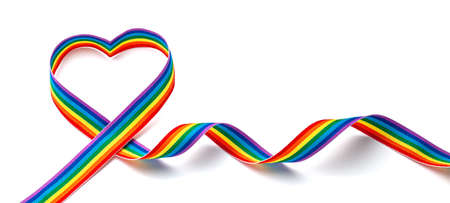 LGBT rainbow ribbon in the shape of heart. Pride tape symbol. Isolated on a white background.
