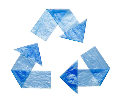 Sign recycling plastic from blue bags isolated on a white background. Environmental pollution by disposable bags, recycling. Banco de Imagens