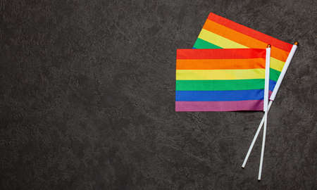 LGBT Pride Rainbow Flag. Black background.