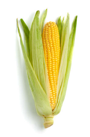 Corn in the leaves isolated on white background Banco de Imagens