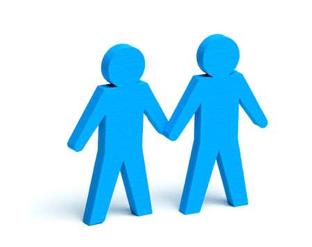 Two GAY men holding hands. Two GAY men holding hands. Isolated on white background.