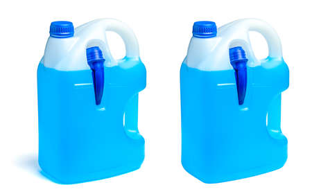 Car chemistry liquid in a canister. Winter window cleaner in blue isolated on a white background. Standard-Bild