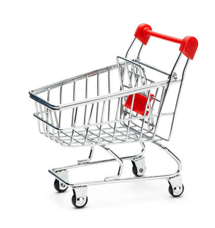 The shopping trolley is empty. Isolated on white background.