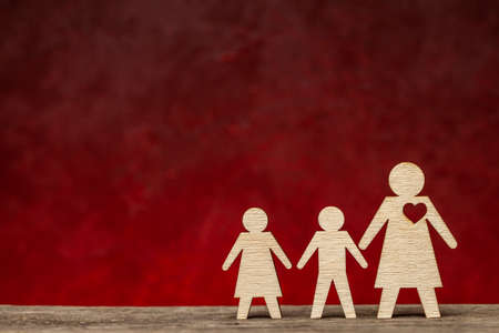 Single mother. Mom alone brings up children without a father.