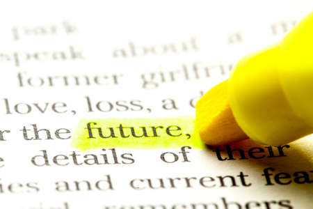 Word future is select in yellow marker on paper Stock Photo