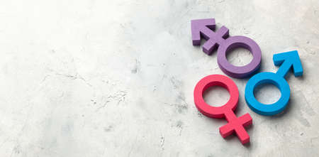Transgender symbol and gender symbol of man and woman on a gray background