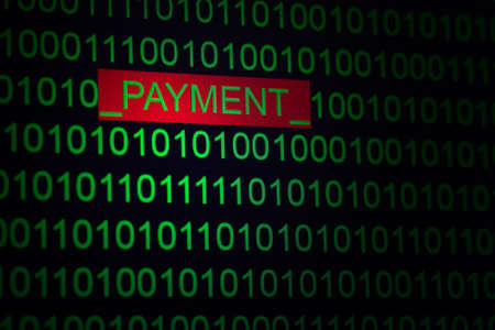 word payment in a binary code of green color on a black Фото со стока