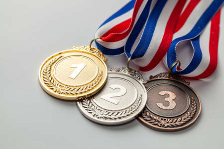 Gold, silver and bronze medal. Award for first, second and third place