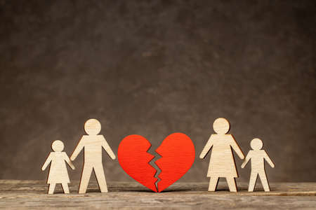 Divorce in a family with children. Who will the children stay with after the divorce. Mom with a child and dad with a child