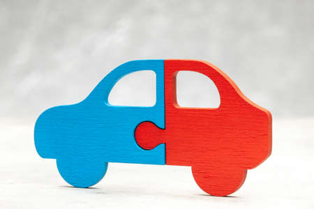 Car puzzle. Car sharing. Parts of the car Stock Photo