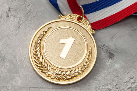 Gold medal. First place award with ribbon Stock Photo