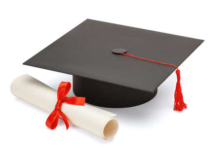 Black graduate cap with scientific degree scroll isolated on white background Banque d'images