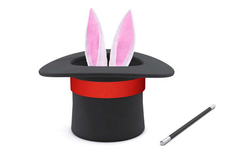 Magician hat. Rabbit ears stick out with a black top hat with a red ribbon and a magic wand. isolated on white background. 3d render